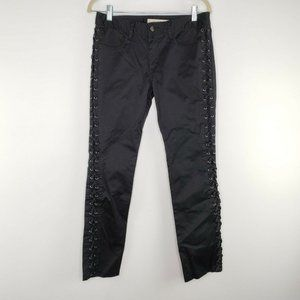 REISS Womens Black Side Laced Pants Stretch Size 6